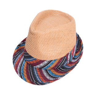 Wholesale mens beige straw trilby with aztec print