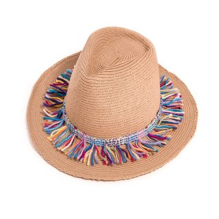 Wholesale ladies straw brown fedora with multi coloured tassel band