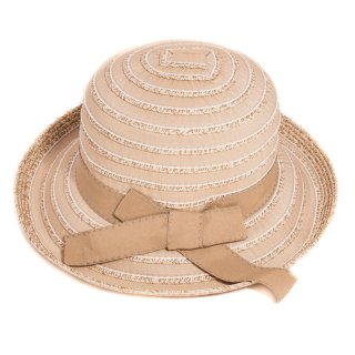 Wholesale ladies wide brim taped yellow straw hat