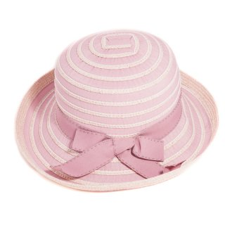 Wholesale ladies wide brim taped pink straw hat