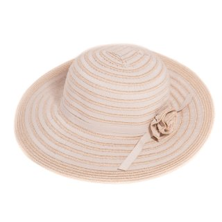 Wholesale ladies wide brim yellow straw hat with flower band