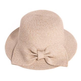 Wholesale ladies beige straw hat with large bow