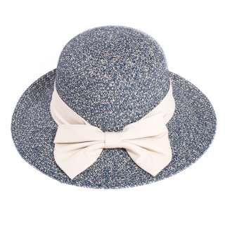 Wholesale blue ladies straw hat with feather print band