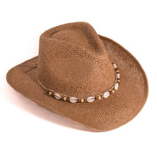 S283- ADULTS UNISEX STRAW COWBOY HAT WITH SHELL BAND