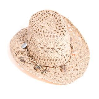 Wholesale ladies beige straw cowboy hat with shell band