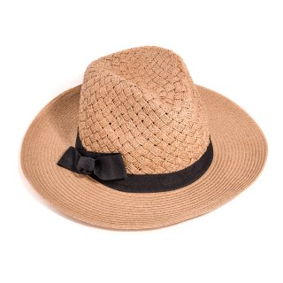 Wholesale adults unisex dark brown straw fedora with ribbon band