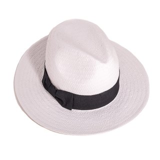 Wholesale adults unisex white straw fedora with black band