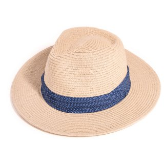 Wholesale mens straw fedora hat with blue pattern band