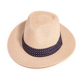 Wholesale mens straw fedora with pattern band