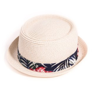 Wholesale adults unisex white straw porkpie with tropical band