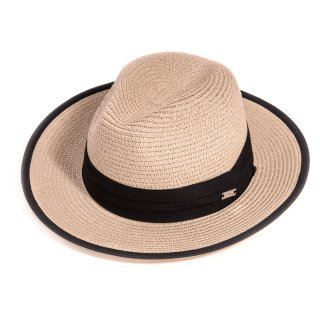 S294- LADIES STRAW FEDORA WITH BLACK BAND/EDGING