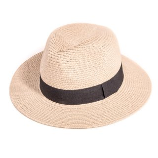 S295 - LADIES STRAW FEDORA WITH BLACK BAND