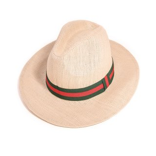 Wholesale mens straw fedora with red and green stripe band