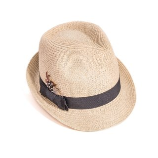 Wholesale adults unisex beige straw trilby with detail band