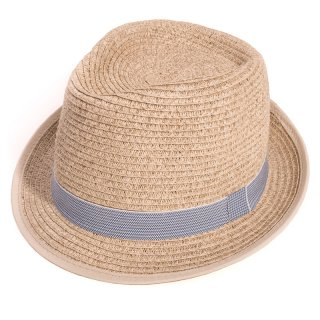 Wholesale adults unisex tan trilby with blue stripe band