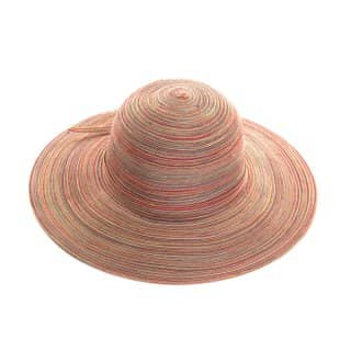 Wholesale womens wide brim multi-coloured straw hat