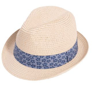 Wholesale adults unisex white straw trilby hat with blue patterned band