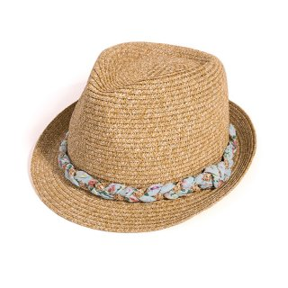 Wholesale ladies brown straw trilby with plait band