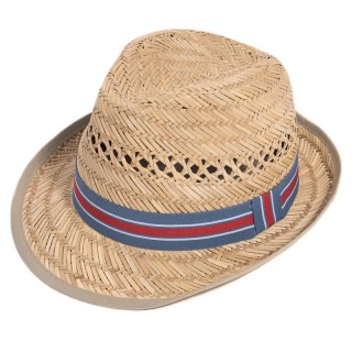 Wholesale mens straw trilby hat with blue and red striped ribbon band