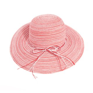 Wholesale red straw wide brim hat for ladies