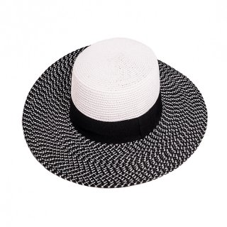 Wholesale ladies black and white straw wide brim hat with ribbon band