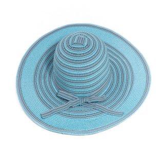 Bulk ladies straw wide brim hat in blue