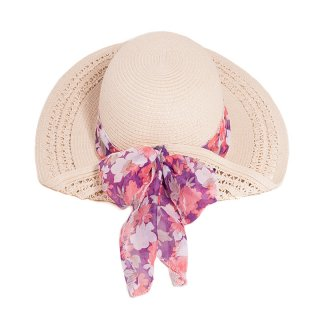Bulk ladies straw wide brim hat with pink floral scarf band
