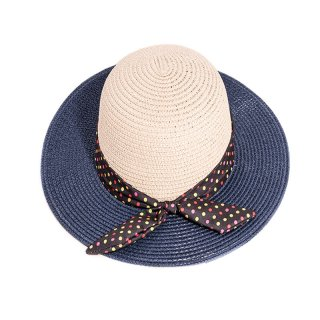 Wholesale bulk ladies blue straw wide brim hat with spot band