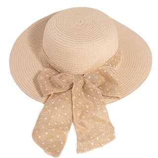 Bulk ladies beige straw wide brim hat with spot band and bow