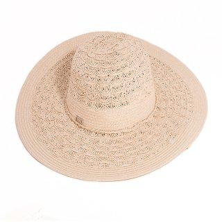Wholesale ladies wide brim straw hat with crochet