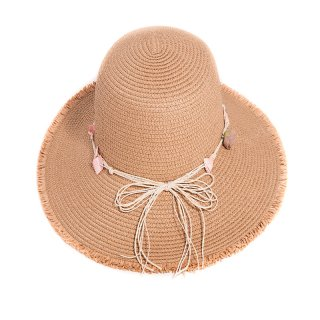 Wholesale ladies beige straw wide brim hat with detail band