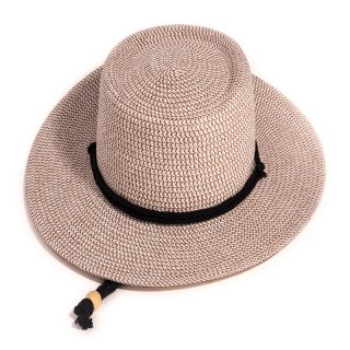 Wholesale ladies wide brim tan straw hat with band and chin strap