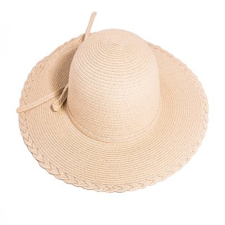 Wholesale ladies white straw wide brim hat with plait edge