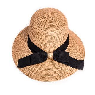 Bulk ladies wide brim beige straw hat with black band and bow