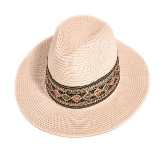 Wholesale ladies straw fedora hat with mirrored band