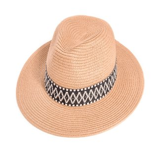 Wholesale ladies beige straw fedora hat with aztec print band