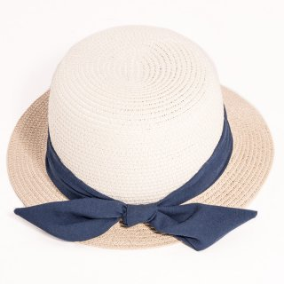 Wholesale ladies short brim hat developed from straw with blue ribbon and bow band