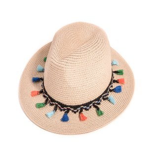 Bulk ladies straw fedora with coloured tassle band
