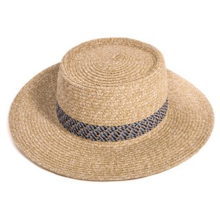 Wholesale brown wide brim straw sun hat with band