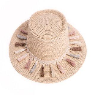Wholesale beige ladies wide brim straw sun hat with tassel band