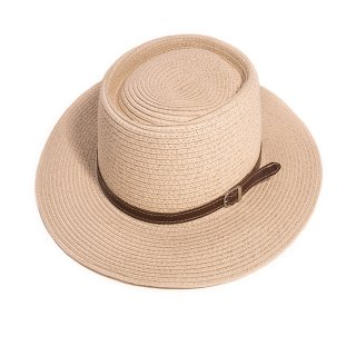 Wholesale adults unisex wide brim straw hat with faux leather