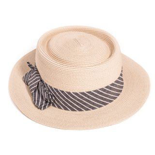 S329- LADIES SHORT BRIM HAT WITH STRIPE BAND