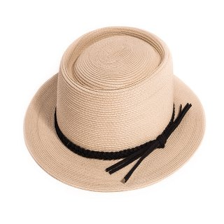Bulk ladies light brown short brim straw hat with plaited band
