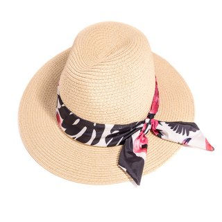 Bulk ladies fedora straw hat with red and black floral band