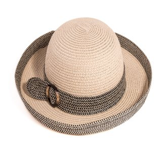 Bulk ladies straw hat with turn up brim and buckle band