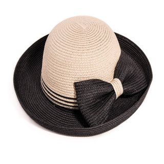 Wholesale ladies two tone straw hat with black turn up brim and bow