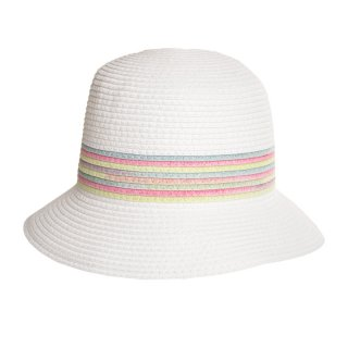 White bulk ladies straw hat with coloured band