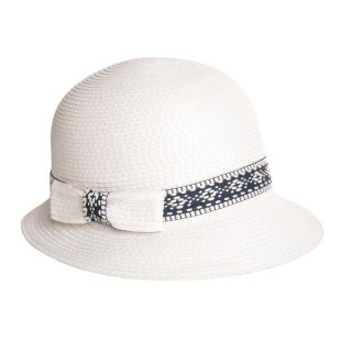 Wholesale white ladies straw hat with detail band and straw bow