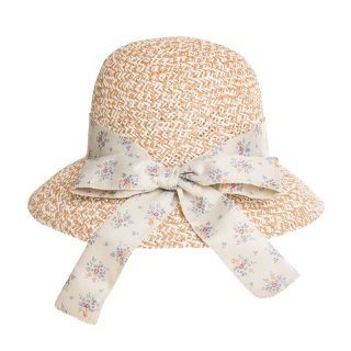 Wholesale beige straw hat with flower band for ladies