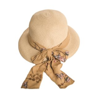 Bulk brown straw hat for ladies with floral scarf band